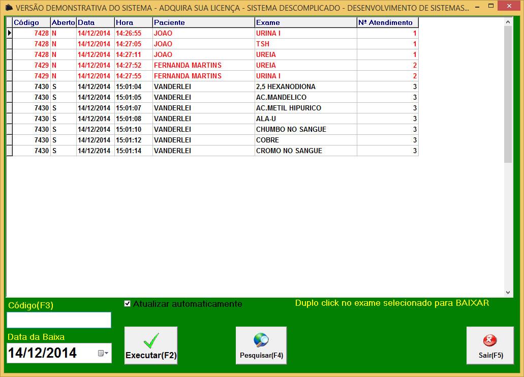 Tela de baixa de exames ordenado por numero de atendimento